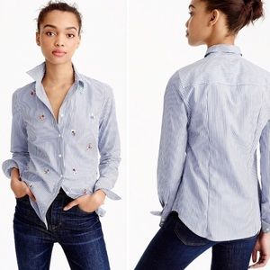 J. Crew Embellished Bee Perfect Shirt Pinstripe 4